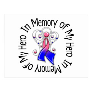 In Memory of My Hero Male Breast Cancer Angel Wing Postcard