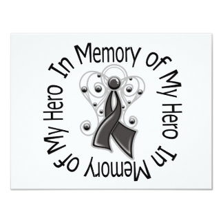 In Memory of My Hero Melanoma Angel Wings Personalized Invite