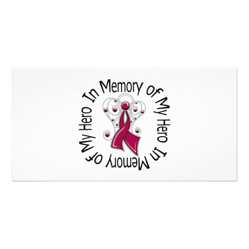 In Memory of My Hero Multiple Myeloma Angel Wings Photo Card