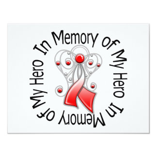 In Memory of My Hero Oral Cancer Angel Wings 4.25x5.5 Paper Invitation Card