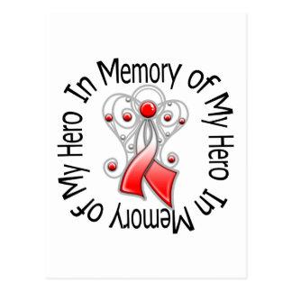 In Memory of My Hero Oral Cancer Angel Wings Postcard
