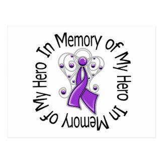 In Memory of My Hero Pancreatic Cancer Angel Wings Postcard