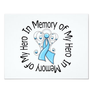 In Memory of My Hero Prostate Cancer Angel Wings 4.25x5.5 Paper Invitation Card