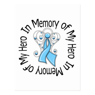 In Memory of My Hero Prostate Cancer Angel Wings Postcard