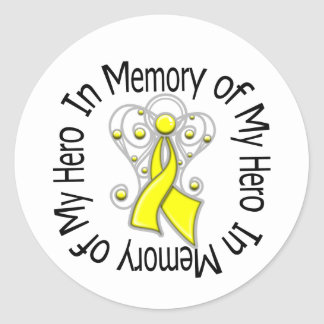 In Memory of My Hero Sarcoma Angel Wings Classic Round Sticker