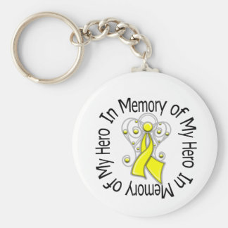 In Memory of My Hero Sarcoma Angel Wings Key Chain