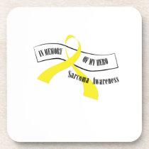 In Memory Of My Hero Sarcoma Awareness Beverage Coaster