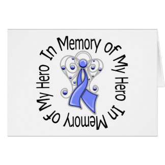 In Memory of My Hero Stomach Cancer Angel Wings Greeting Card