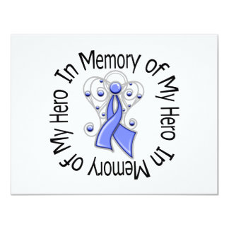 In Memory of My Hero Stomach Cancer Angel Wings 4.25x5.5 Paper Invitation Card