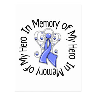 In Memory of My Hero Stomach Cancer Angel Wings Postcard