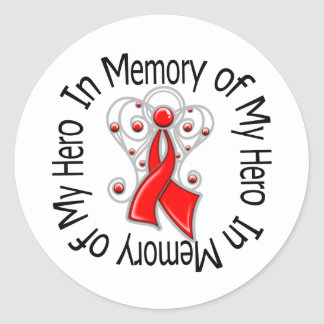 In Memory of My Hero Stroke Angel Wings Classic Round Sticker