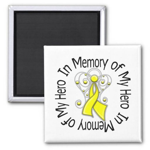 In Memory of My Hero Testicular Cancer Angel Wings Fridge Magnets