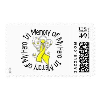 In Memory of My Hero Testicular Cancer Angel Wings Stamps