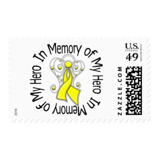 In Memory of My Hero Testicular Cancer Angel Wings Stamp