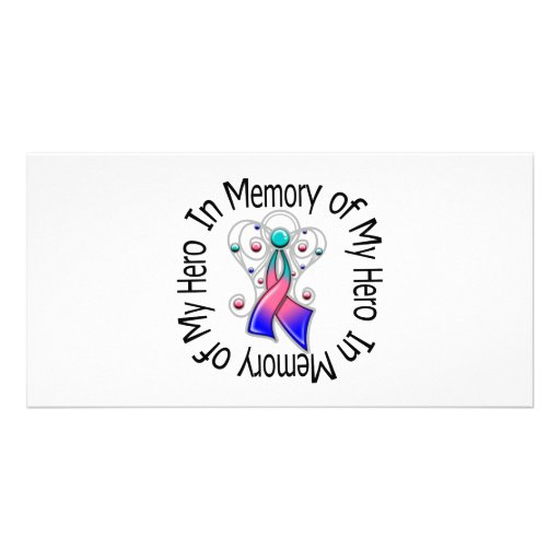 In Memory of My Hero Thyroid Cancer Angel Wings Personalized Photo Card