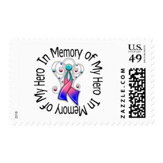 In Memory of My Hero Thyroid Cancer Angel Wings Stamps