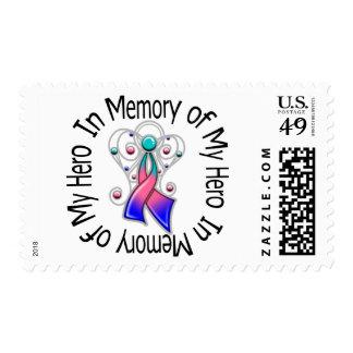 In Memory of My Hero Thyroid Cancer Angel Wings Stamp