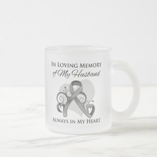 In Memory of My Husband - Brain Cancer 10 Oz Frosted Glass Coffee Mug