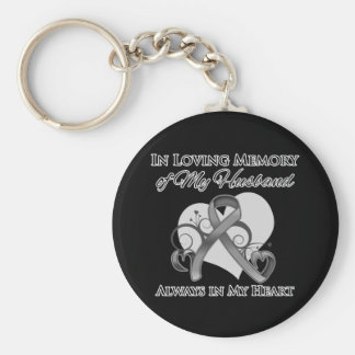 In Memory of My Husband - Brain Cancer Basic Round Button Keychain