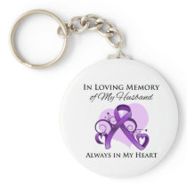 In Memory of My Husband - Pancreatic Cancer Keychain