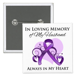 In Memory of My Husband - Pancreatic Cancer Pinback Button