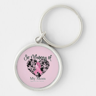 In Memory of My Mom - Breast Cancer Awareness Silver-Colored Round Keychain