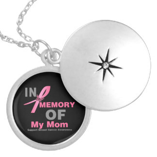 In Memory of My Mom - Breast Cancer Round Locket Necklace