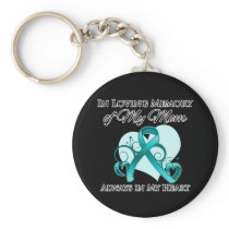 In Memory of My Mom - Ovarian Cancer Basic Round Button Keychain