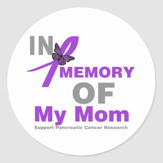 In Memory of My Mom Pancreatic Cancer Classic Round Sticker