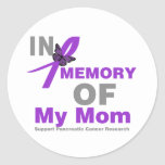 In Memory of My Mom Pancreatic Cancer Round Stickers