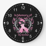 In Memory of My Mother Breast Cancer Heart Wallclocks