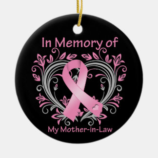 In Memory of My Mother-in-Law Breast Cancer Heart Christmas Tree Ornament