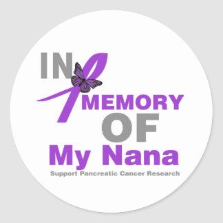 In Memory of My Nana Pancreatic Cancer Classic Round Sticker