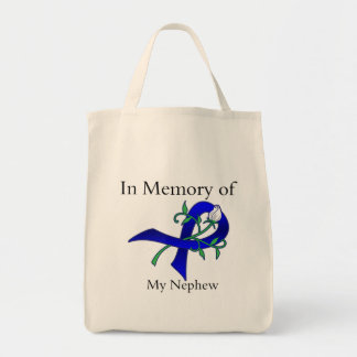 In Memory of My Nephew - Colon Cancer Tote Bags