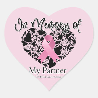 In Memory of My Partner - Breast Cancer Tribute Heart Sticker