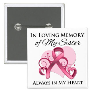 In Memory of My Sister - Breast Cancer 2 Inch Square Button