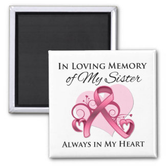 In Memory of My Sister - Breast Cancer 2 Inch Square Magnet
