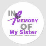 In Memory of My Sister Pancreatic Cancer Round Sticker