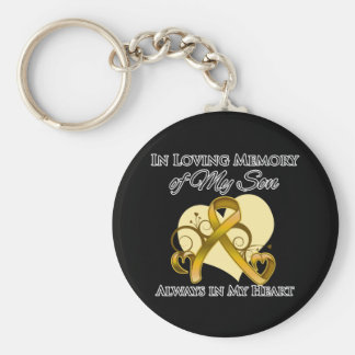 In Memory of My Son - Appendix Cancer Basic Round Button Keychain