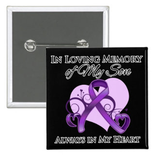 In Memory of My Son - Pancreatic Cancer Pinback Button