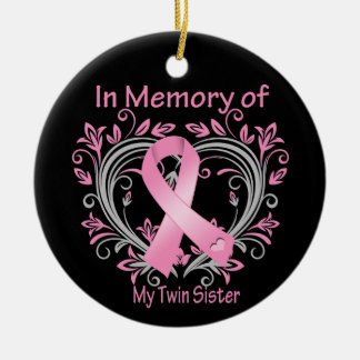In Memory of My Twin Sister Breast Cancer Heart Double-Sided Ceramic Round Christmas Ornament