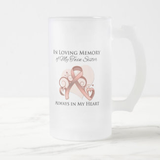 In Memory of My Twin Sister - Uterine Cancer 16 Oz Frosted Glass Beer Mug