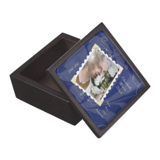 In Memory of Navy Blue Floral Photo Gift Box