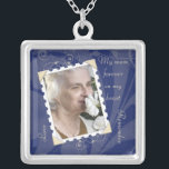 """In Memory of Navy Blue Photo Necklace<br><div class=""""desc"""">Change the photo and the memorial verse on this blue and ivory in memory of photo template pendant and necklace. To change the verse and photo, use the personalize option. For more extensive changes to the necklace, including changing the font, font size, font color, photo size, or text/photo placement, use...</div>"""