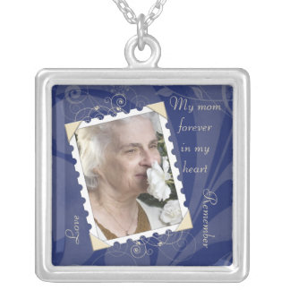 In Memory of Navy Blue Photo Necklace