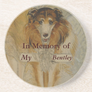 In Memory of-Vintage Collie Dog-Your Dog's Name Coaster
