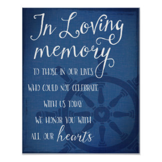 In memory remembrance nautical wedding anchor sign