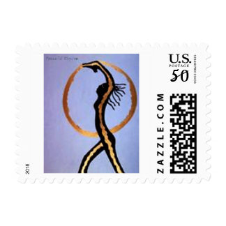 """""""In Motion"""" African Art Postage Stamp"""