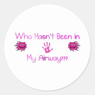 In My Airway Round Stickers
