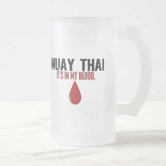 In My Blood MUAY THAI Frosted Glass Beer Mug